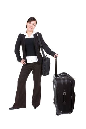 young attractive woman traveling with suitcase photo