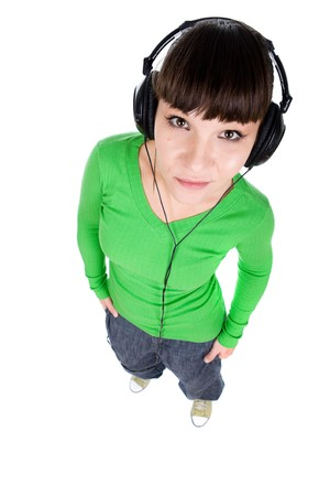 young adult woman with headphones. over white background photo