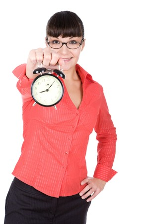 young adult woman with clock. over white background photo