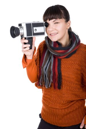 young adult woman with retro camera. over white background photo