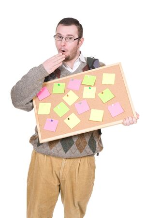 young silly adult man with corkboard. over white background photo