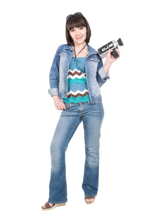 young adult brunette woman with old camera photo