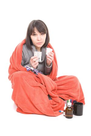 infirm: young adult sick woman. over white background