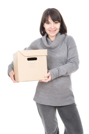 cardbox: young adult brunette woman holding cardbox. over white background
