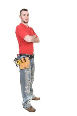 Junge Erwachsene ArbeiterInnen über white background Standard-Bild - 9157481