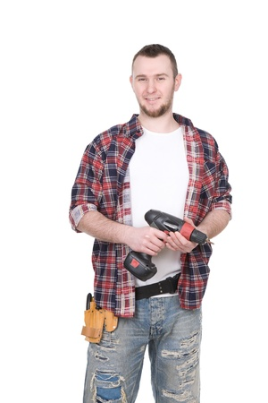 cardbox: toung adult worker over white background Stock Photo