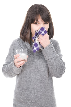 catarrh: young adult sick woman over white background