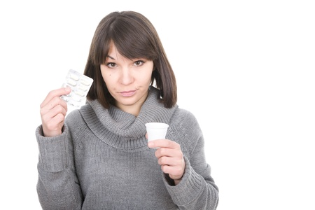 poorly: young adult sick woman over white background