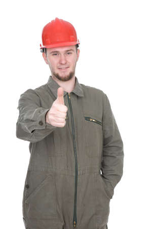 cardbox: young adult worker isolated on white background Stock Photo
