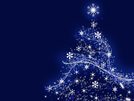Illustration of a christmas tree over the blue background Stock Photo