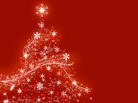 Illustration of a christmas tree over the red background Stock Photo