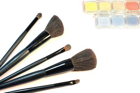 brushes and eyeshadows for make-up photo