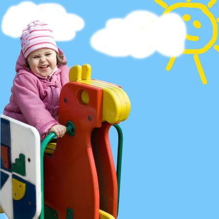 Cute little girl on the blue background imitating kid drawing Stock Photo - 4083795