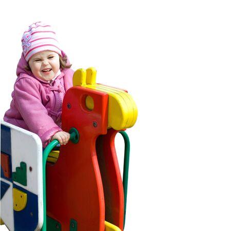 Cute little girl having fun isolalated on white Stock Photo - 4083796