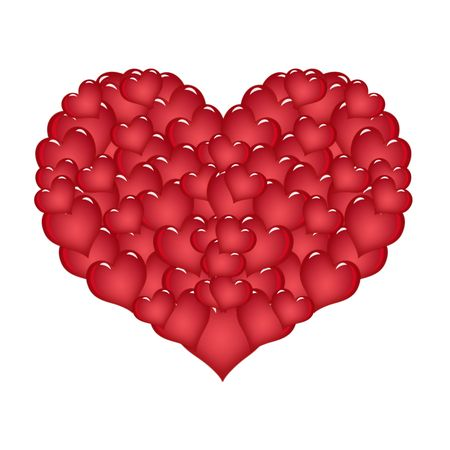 Large red heart made of small hearts Stock Photo