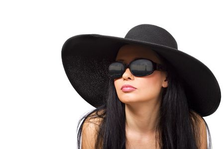 Young brunette in black hat and sunglasses photo