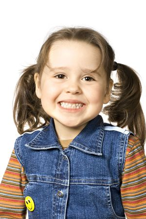 Happy little girl on white background Stock Photo - 4784793