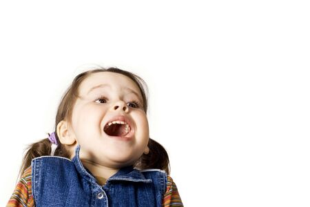 Happy little girl on white background Stock Photo - 4784746