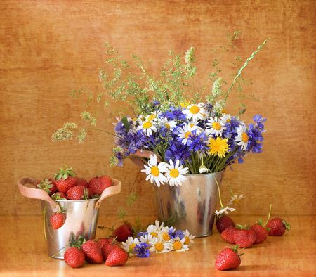Strawberries and wild flowers