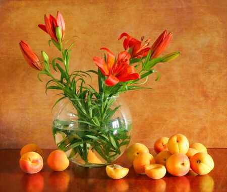 Beautiful still life with lilies and apricots