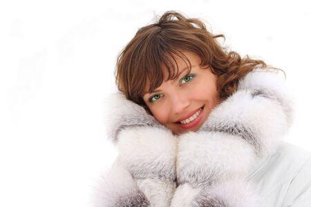 fur trees: Beautiful woman in the fur coat