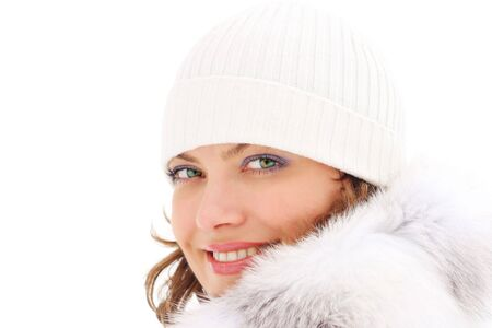 Portrait of a beautiful woman in the fur coat Stock Photo - 5584919