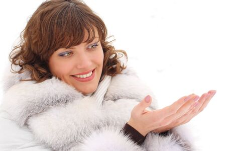 Picture of a young woman in fur coat with copyspace Stock Photo
