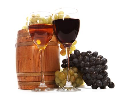 beer barrel: Wine glasses with white and red wine over the white background