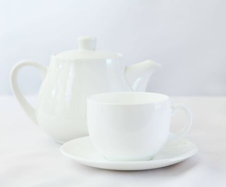 White tea pot and cup Stock Photo - 6966024