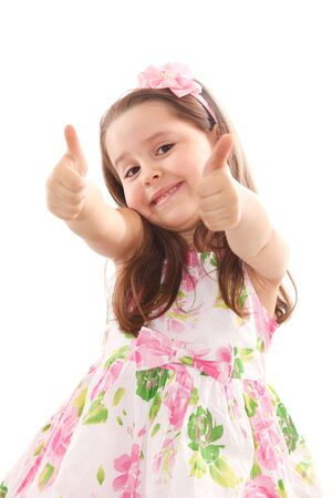 Smiling up with her thumbs up isolated on white Stock Photo