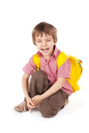 sac d ecole: Little boy with yellow school bag
