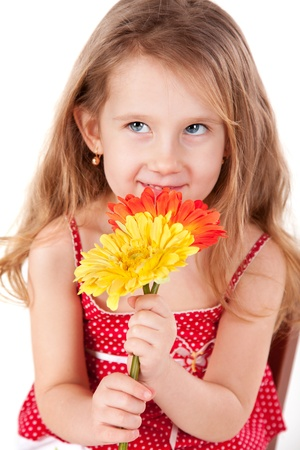 Portrait of the cute little girl with daisies Stock Photo