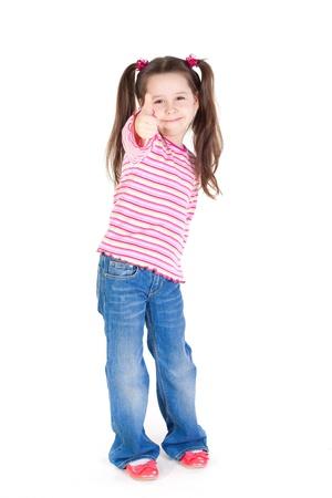 jolie petite fille: Funny little girl avec le pouce up