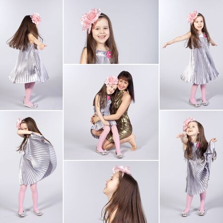 Collage of pictures of happy little girl photo