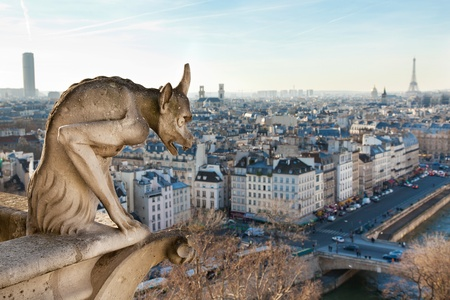 Notre Dame of Paris: Chimera overlooking the skyline of Paris at a sunset photo