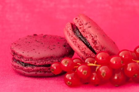 Red fruit flavored macaroons with the berries photo
