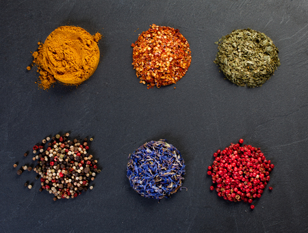 Set of different spices. Top view Stock Photo