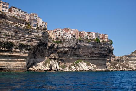 View to Bonifacio city from the sea. Corsica, France