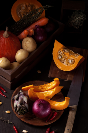 Autumn vegetables. Seasonal organic food and autumn harvest concept Stock Photo