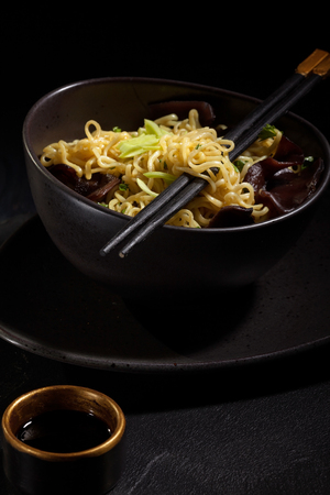 Freshly cooked instant noodles. Asian cuisine