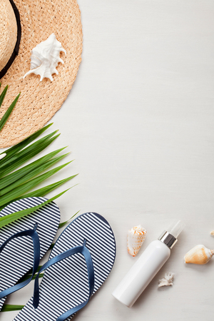 Summer vacation concept flat lay. Beach accessories top view. Space for text. travel