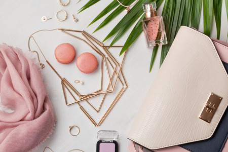 Flat lay with women accessories. Fashion, trends and shopping concept Stok Fotoğraf