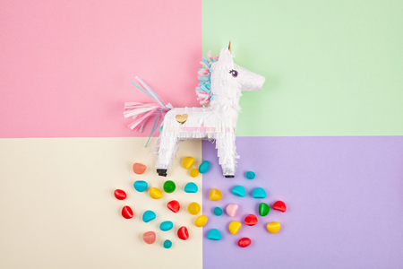 Pinata traditional Mexican paper party piece. Filled with candies for celebrating anniversaries and birthdays Stock Photo