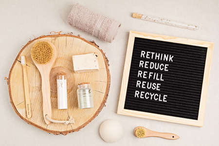 Rethink, reduce, refill, reuse, recycle. Black letter box with eco friendly self care products. Zero waste sustainable lifestyle. Plastic free concept Banco de Imagens
