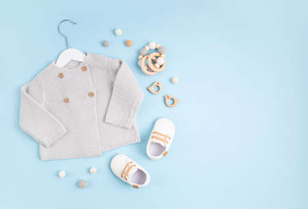 Gender neutral baby garment and accessories. Organic cotton clothes