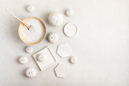 Handmade craft gypsum objects for interior decoration. Artisan, small business, diy, hobby idea
