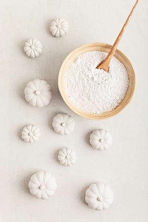 Handmade craft gypsum pumpkins for interior decoration and plaster in powder