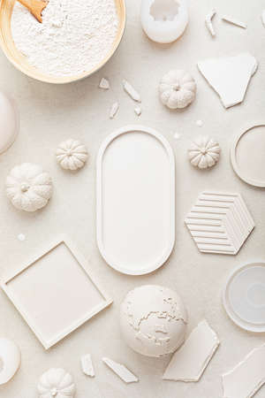 Handmade craft molds, plaster powder and gypsum objects for interior decoration