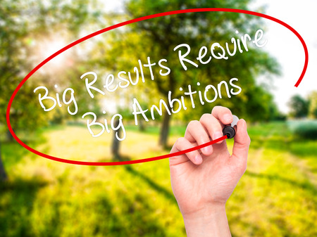 require: Man Hand writing Big Results Require Big Ambitions with black marker on visual screen. Isolated on nature. Business, technology, internet concept. Stock Photo Stock Photo