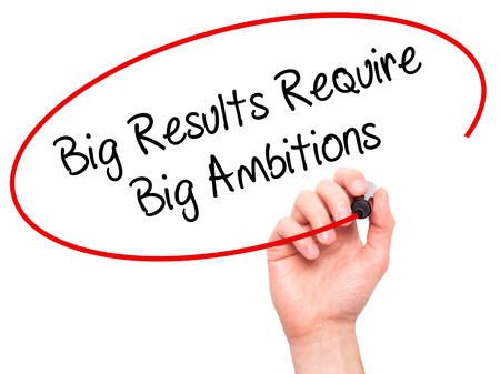 ambitions: Man Hand writing Big Results Require Big Ambitions with black marker on visual screen. Isolated on white. Business, technology, internet concept. Stock Photo